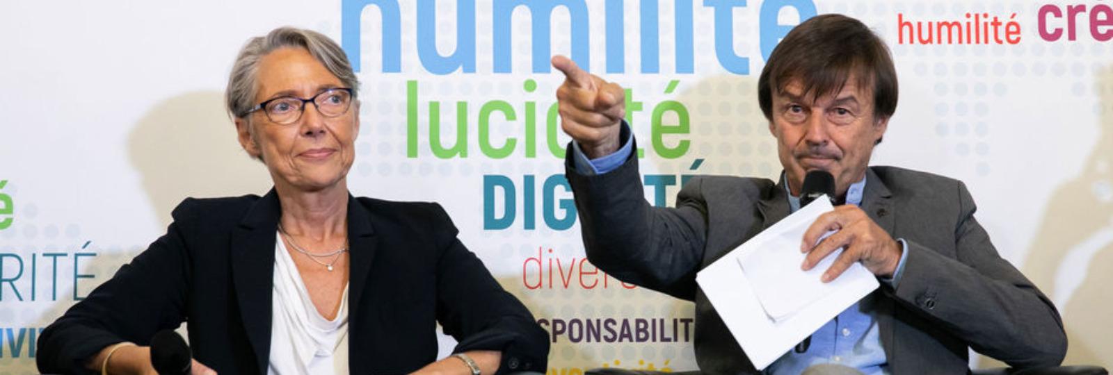 Les ministres Nicolas Hulot (Transition écologique et solidaire) et Elisabeth Borne (Transports) vendredi. (Sipa Press)
